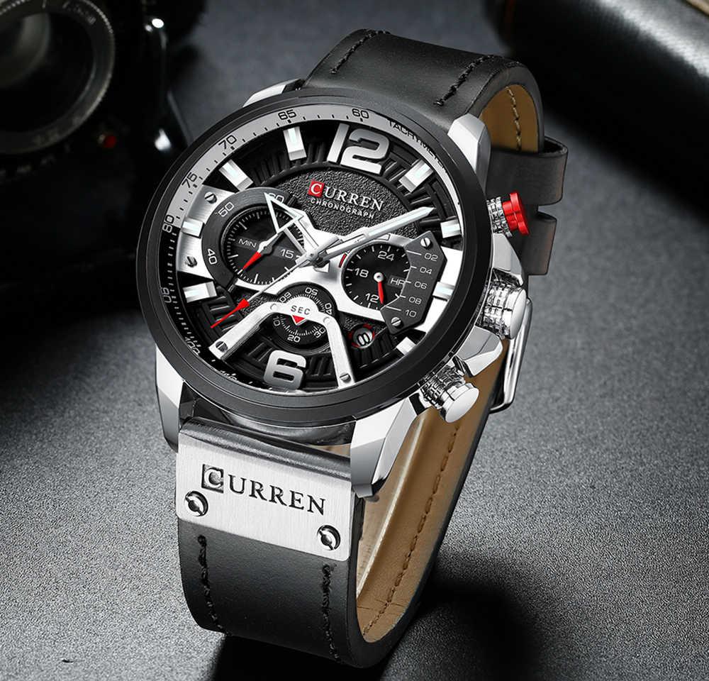 Curren-Codzienne i sportowe zegarki męskie, luksusowa marka, wojskowy zegarek dla mężczyzn, ze skórzanym paskiem na rękę, niebieski, moda