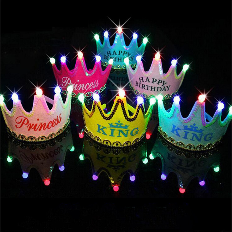 Kids Birthday Party Led Crown Hat Toys King Princess Party Cake Photo Toy Party Decoration