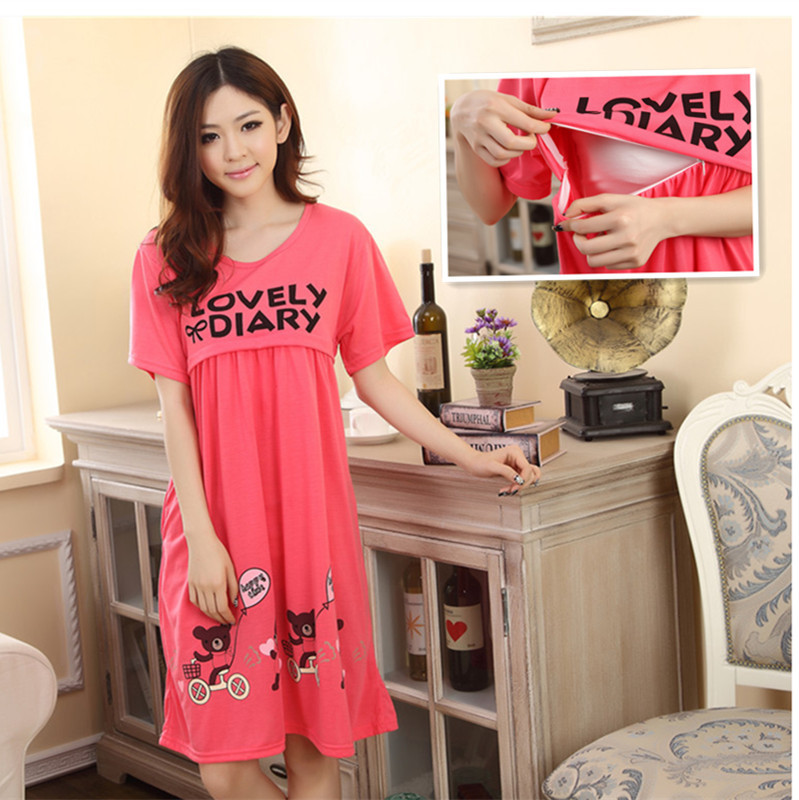 Summer Pregnant Women Short Sleeve Nightgown Women's Nursing Pajamas Nightgown Home Cute Cartoon Confinement Clothing Feeding Dr