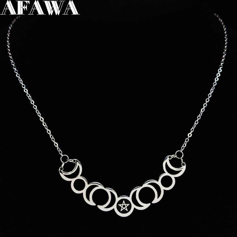 2020 Sun Moon Pentagram Stainless Steel Warna Perak Kalung Wanita Sihir Laporan Kalung Perhiasan Gargantilla N427S02