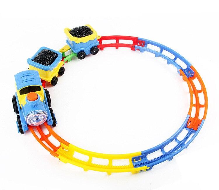 Детская игрушка подвижный Поезд Локомотив трек игрушки для мальчиков девочек DIY перевернутый электрический вагон с подсветкой Музыка