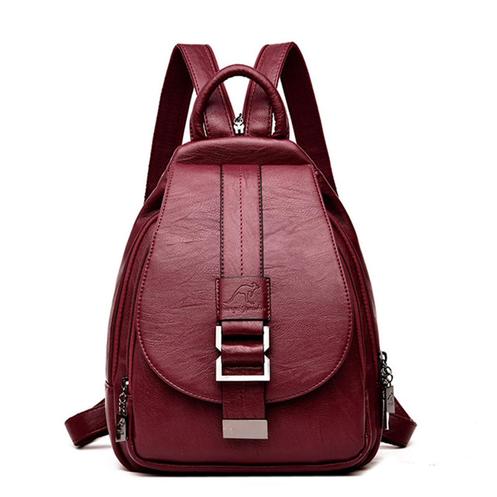 LONOOLISA 2019 Women Leather Backpack Female Shoulder Bag Sac A Dos Travel Ladies Bagpack Mochila School Bags For Teenage Girls