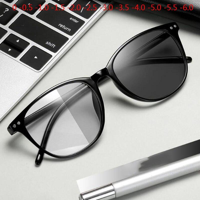 Rebites acabados miopia óculos mudança de cor óculos fotochromic mulher homem prescrição 0 -0.5 -1.0 -1.5 -2.0 -2.5 -3.0-6.0 para-