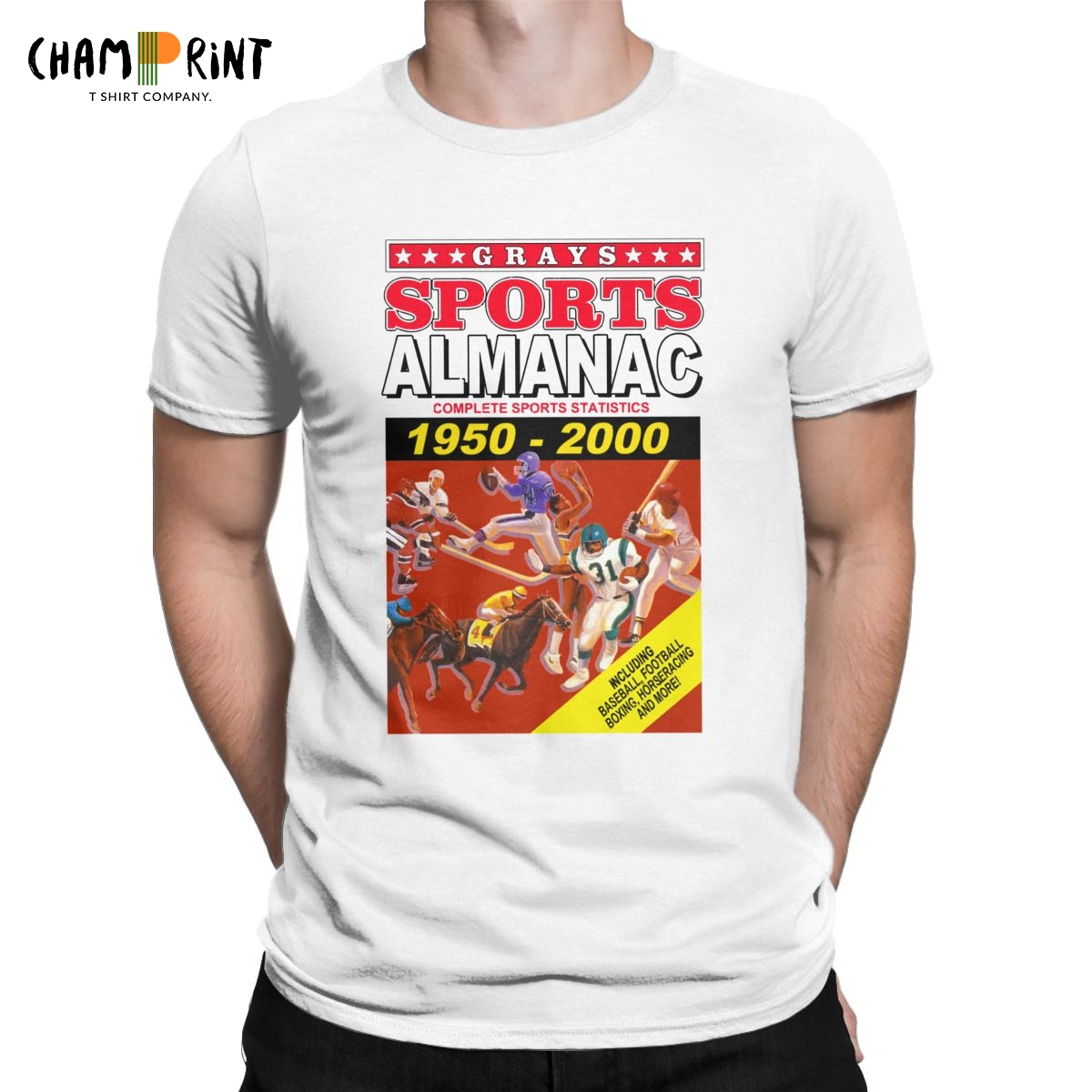 Sports Almanac 1950 - 2000 Men T Shirts Back To The Future Vintage Tee Shirt Short Sleeve Round Neck T-Shirt Graphic Tops
