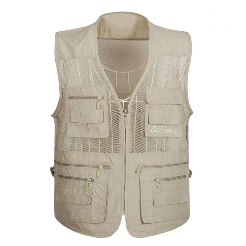 Summer Mesh Vest For Men Spring Autumn Male Casual Thin Breathable Multi Pocket Waistcoat Mens Baggy 5XL Vest With Many Pockets