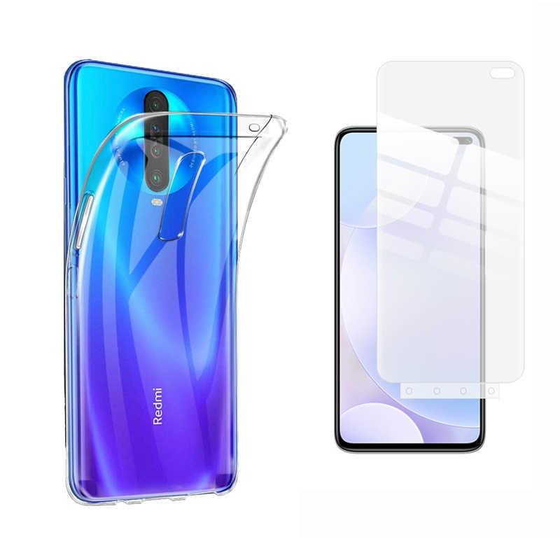 "Soft Clear Silicone Case & Hydrogel Screen Protector for Xiaomi Redmi K30/K30 5G 6.67"" Cover with Install Tool Anti-Scratch"