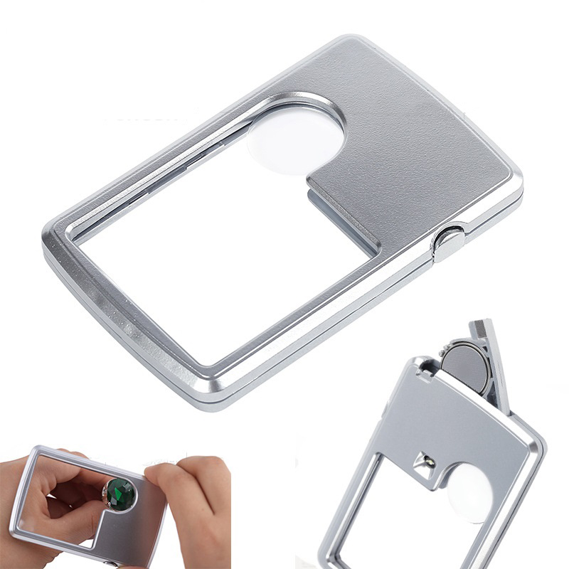 LED Jewelers Loupe Lighted Magnifying Glasses with Light Slide Out Lighted Magnifier Handheld 30x 60x 90x Magnification Portable UV Light Eye Loop for Jewellery Diamonds Gems Coins Stamps Silver