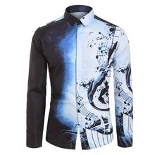 купить Plus Size Men Casual Musical Note Pattern Casual Long Sleeves Blouse Autumn Vintage Turn-down Collar Shirt Top For Male 2019 дешево