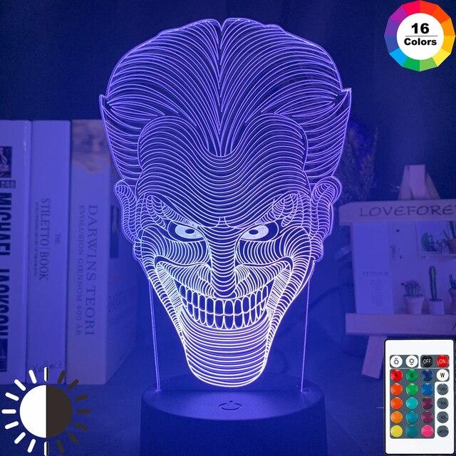 3d Led Night Light Marvel Joker Face Kids Bedroom Atmosphere Light 16 Colors Changing Bedside Novelty Lamp with Remote Control