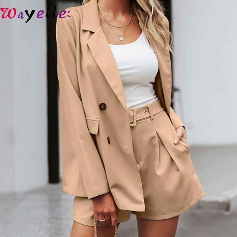 2019 Two-pieces Women Short Suit Elegant Casual Streetwear Suits Female Blazer Sets Chic Office Ladies Shirt Women Blazer Suit