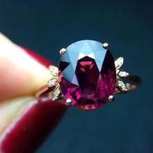 Fine Jewelry Real Pure 18 K Gold AU750 100% Natural Red Tourmaline Gemstone 3.5ct Female Rings Brazil Origin for Women's Gift(China)
