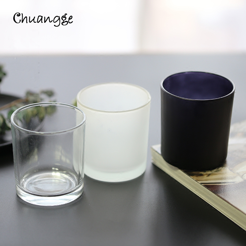 CHUANGGE DIY Candle Jar Container Tumbler Holder Candlestick Frosted Glass Cup Handmade Scented Candles Making Supplies