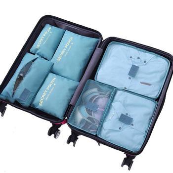 7 PCS Set Travel Compression Packing Cubes Travel Luggage Organizer Mesh Bag Set Large Capacity Travel Packing Cube Storage