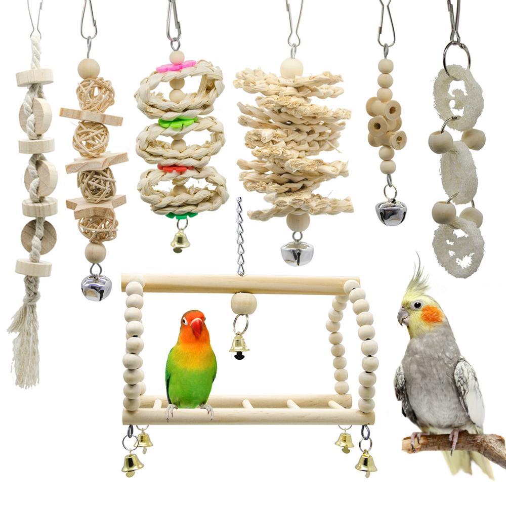7pcs Bird Toys Cockatiel Parrot Toys And Accessories Budgie Perch Stand parkiet speelgoed vogelspeelgoed jouet perroquet