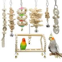 7pcs Brinquedos E Acessórios Periquito Pássaro Brinquedos Papagaio Periquito Poleiro Stand parkiet speelgoed vogelspeelgoed jouet perroquet