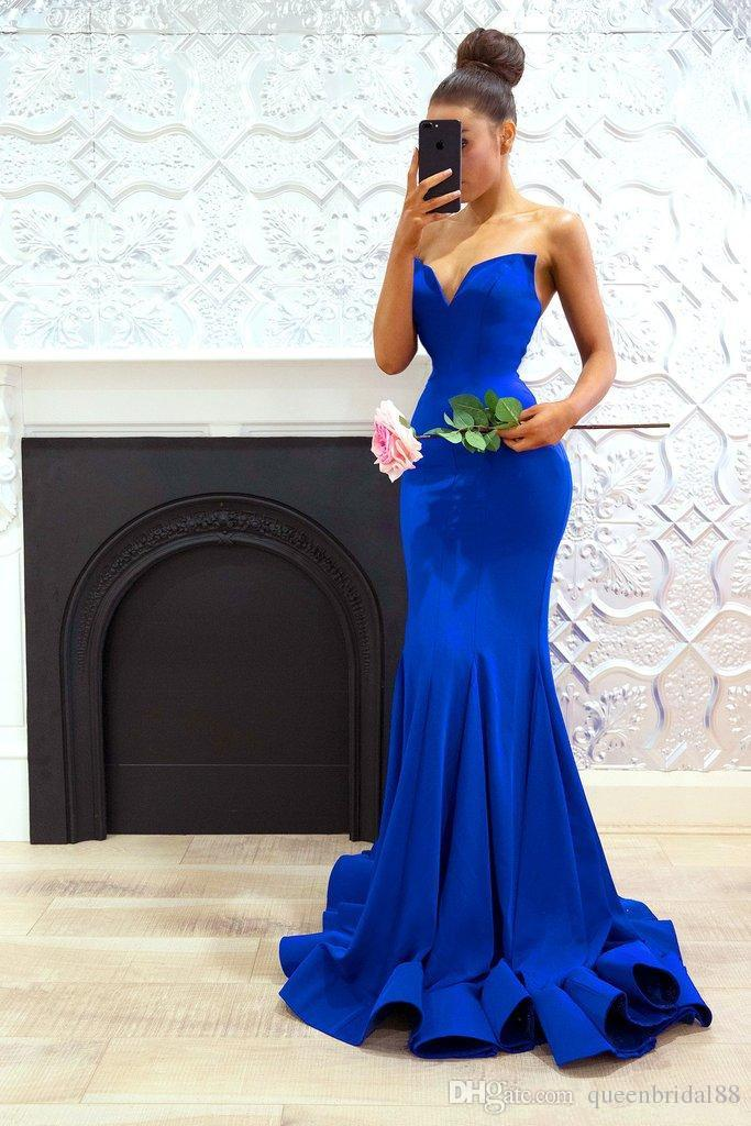Royal Blue 2019 Cheap   Bridesmaid     Dresses   Under 50 Mermaid V-neck Long Wedding Party   Dresses   For Women