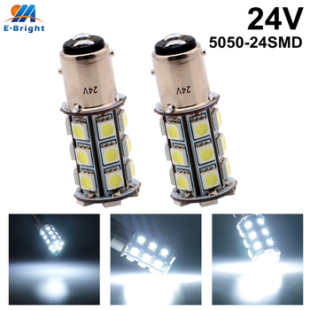 6pcs 24V DC White 5050 24 SMD Led Bulbs 1157 BAY15D P21/5W BA15D 288LM Auto Truck Car Driving Turn Signal Brake Lights Indicator