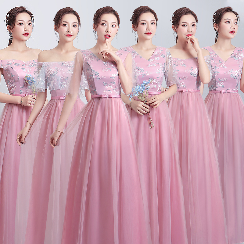 Long Tulle Pink Bridesmaid Dresses Elegant V-neck Guest Wedding Party Dress Sexy Prom Vintage Embroidery Vestido Largo Sirena