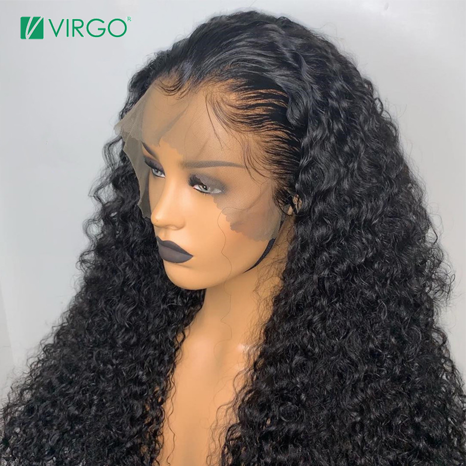 Virgo Hair 360 lace frontal wig Brazilian curly human hair wig pre plucked with baby hair Glueless lace wigs Remy Hair image