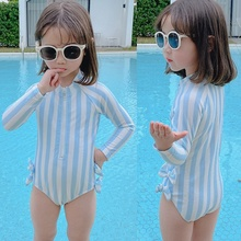 Girls Swimsuit Beach-Wear One-Piece for Summer Outfits Kids Lovely 3-6Y Navy Stripe