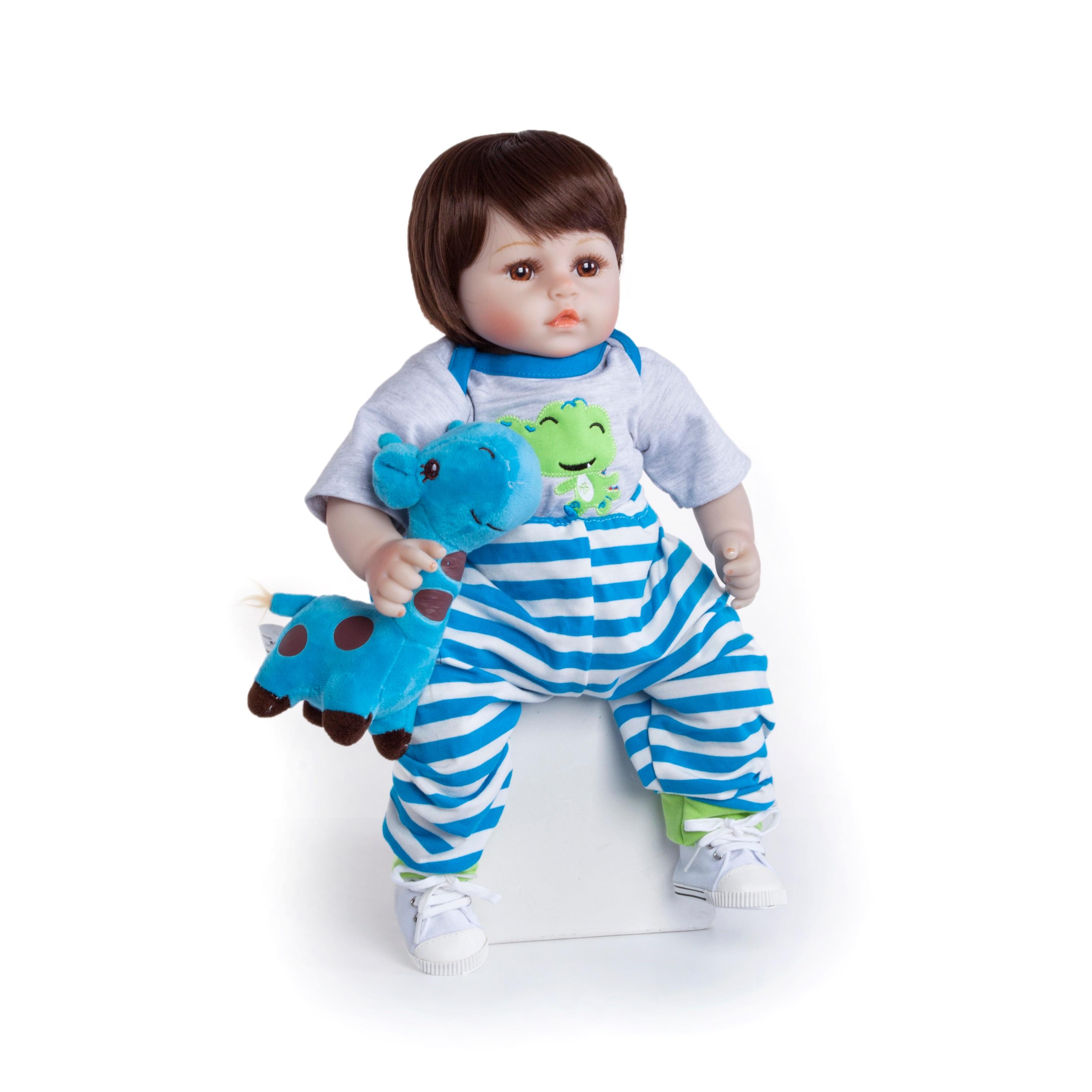 19 polegada artesanal reborn bonecas silicone vinil adorável lifelike bebê da criança bonecas menino miúdo bebes boneca renascer menina de silicone