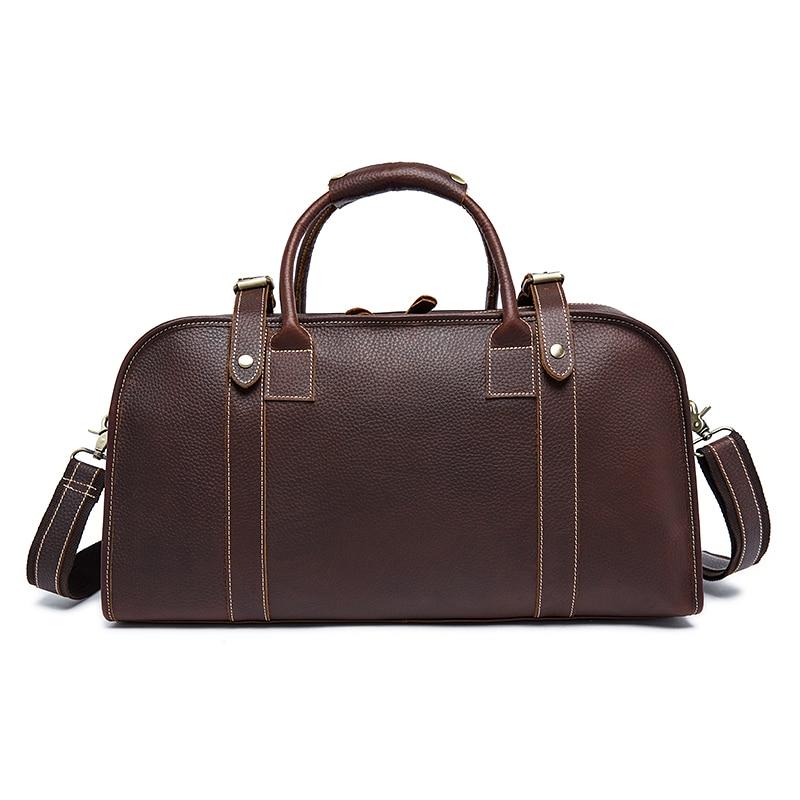 MVA Vintage Duffle Bag Men Genuine Leather Handbag Large Capacity Travel Bags Coffee Luggage Bag Soft Shoulder Bag