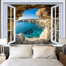 Гобелен для окон с голубым океаном, Пляжное кокосовое дерево в стиле хиппи, настенная ткань, подвесной закат, гобелены, ковры, ковер, домашни...