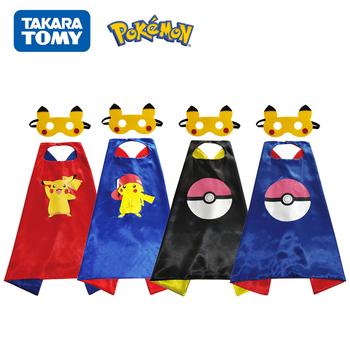 Pokemon maska płaszcz Pikachu figurki Anime ubrania typu Cosplay pokémon zabawki dla dzieci dekoracja urodzinowa prezent na boże narodzenie tanie i dobre opinie TAKARA TOMY Model CN (pochodzenie) Unisex figure pokemon 70CM Odzież Buty Czapka PIERWSZA EDYCJA 2-4 lata 5-7 lat 8-11 lat