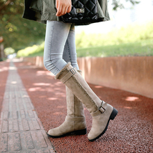Купить с кэшбэком Women Winter Snow Boots Mid-Calf Boots Ladies Shoes Slip-On Warm Plush Shoes Khaki/Beige/Black Vintage Female Shoes Long Boots