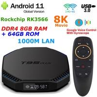 Android 11 TV BOX T95 PLUS RK3566 DDR4 8GB RAM 64GB ROM 1000M LAN 2,4G/5G Dual WIFI BT 8K decode USB 3,0 4K Youtube Set Top Box