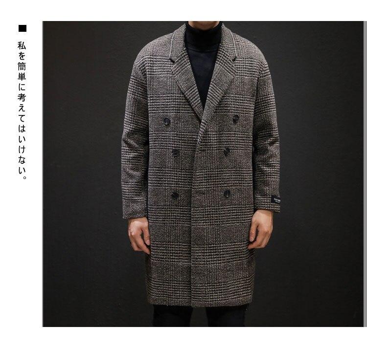 YASUGUOJI Casual Double Breasted Mens Wool Overcoat Winter 2019 Houndstooth Jacket Men Turn-down Collar Long Woollen Wind Coat 11