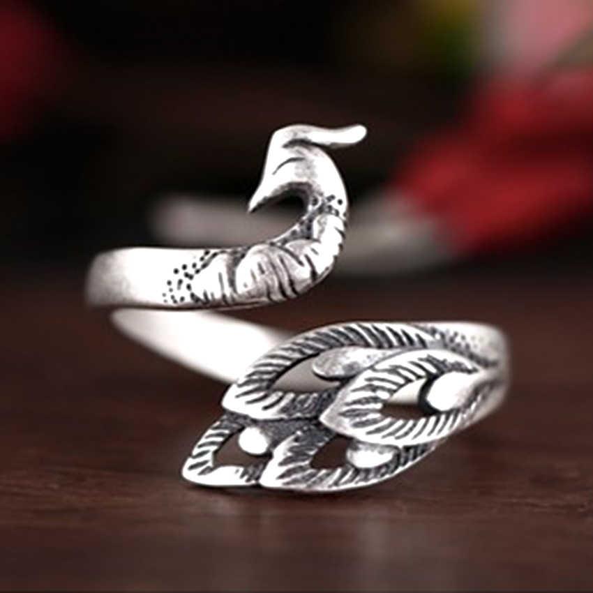 خمر جميلة الطاووس خواتم للنساء الحيوان قابل للتعديل خمر حلقة هدية الكريسماس فتاة العرقية مجوهرات هدية عيد ميلاد