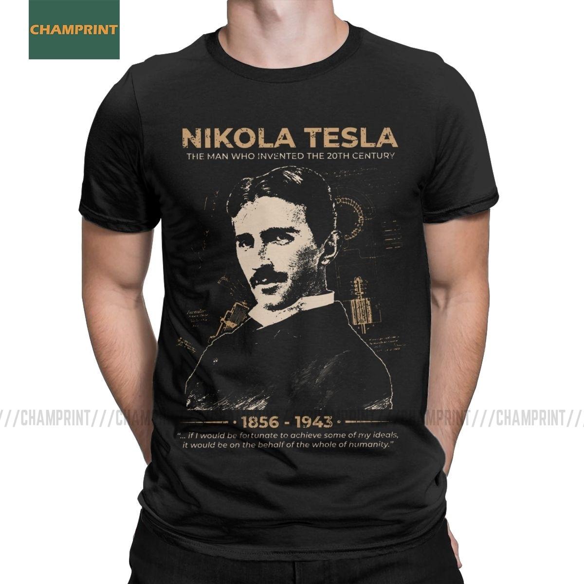 Nikola Tesla Для мужчин футболки учеными при условии изобретатель физика научные футболки короткий рукав футболки 100% хлопковые вечерние топы