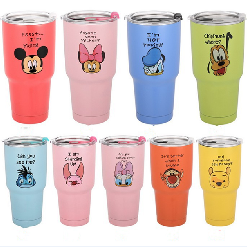 30oz 900mL Disney Mickey Mouse Cartoon Water Cup 304 Stainless Steel Vacuum Insulation Car Mug Straw Cup Beer Mug Icemaster Cup