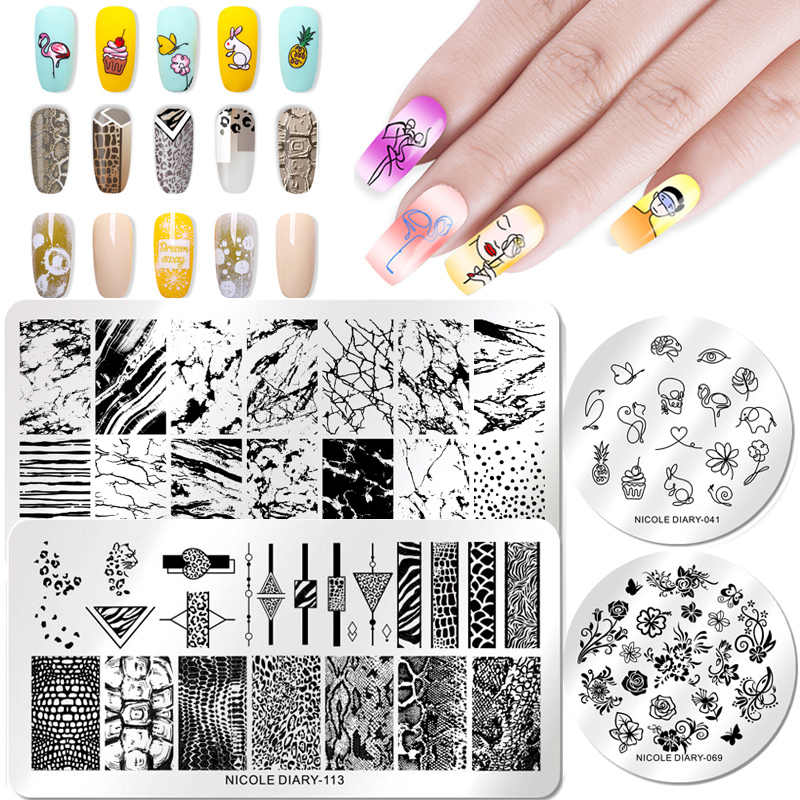 NICOLE DIARY Nail Stamping Plates Template Lace Flower Animal Pattern Nail Art Stamp Stamping Image Plate Stencil Nails Tool