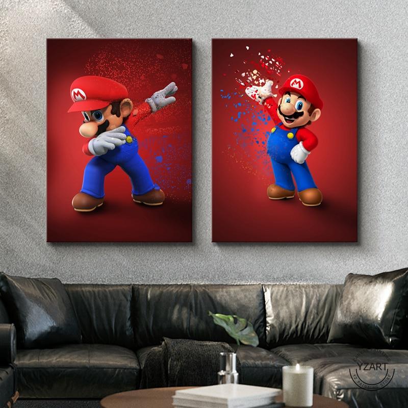 Abstract Art Cartoon Picture Mario&Yoshi&Peach Super Mario Video Games Art Wall Decor Paintings Super Smarch Bros Games Art 1