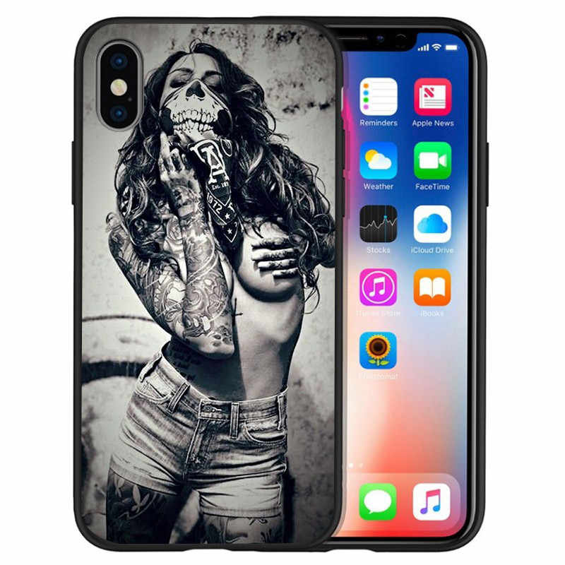 fashion girl Sexy tattoo For iPhone X XR XS 11 Pro Max 5 5S SE 6 6S 7 8 Plus Oneplus 5T Pro 6T phone Case Cover Coque silicone