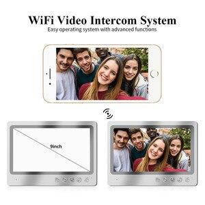 Image 4 - Videoportero con pantalla de 9 pulgadas, sistema de grabación de teléfono para puerta, WIFI, con cable, control remoto, RFID, envío gratis