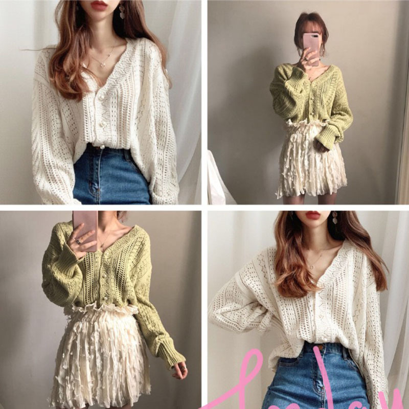 2020 New Spring Women Cardigans Hollowed Women Cardigans Knit Sweater