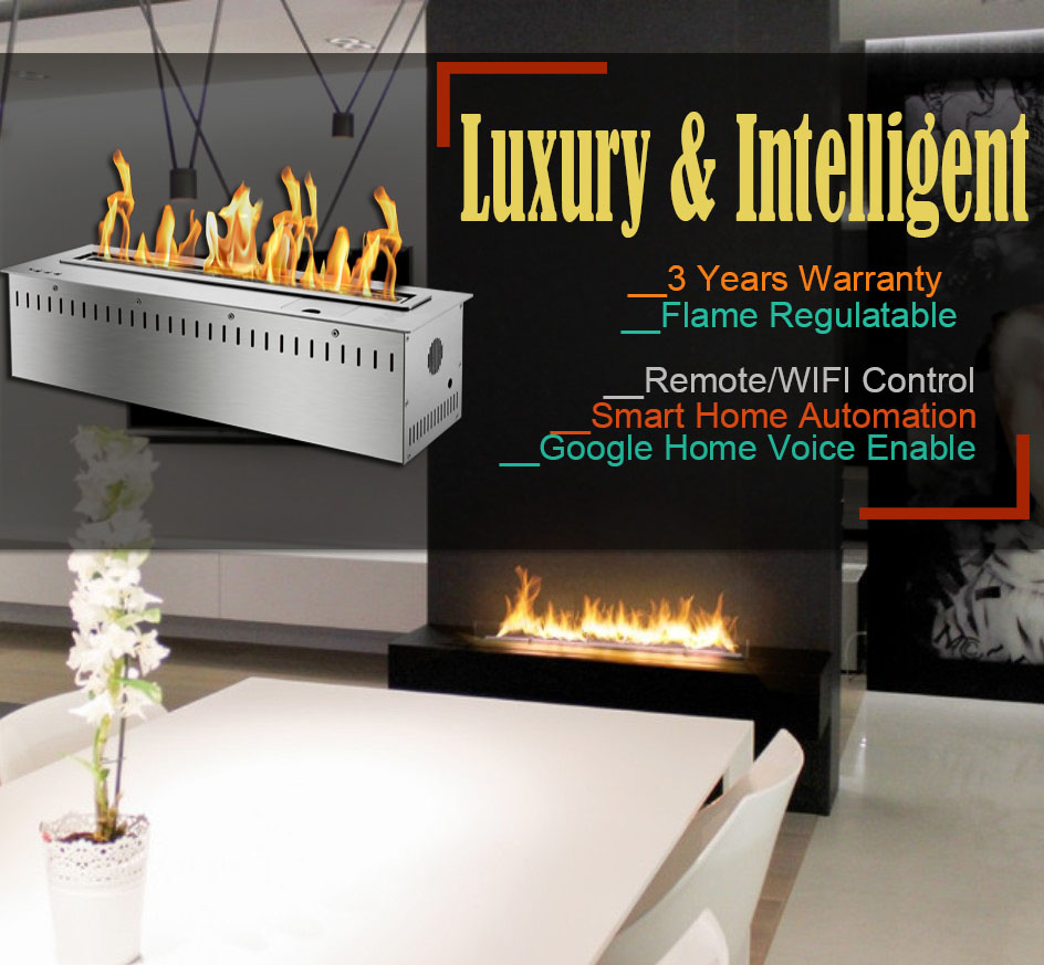 Hot Sale 24 Inches Indoor Ethanol Burner Alexa Voice Control Stainless Steel Ethanol Fireplace