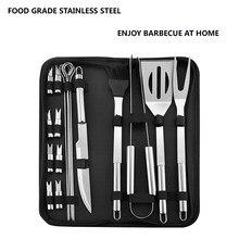 Aço inoxidável conjunto de ferramentas para churrasco espátula garfo pinças faca escova espetos churrasco grelhar utensílio acampamento ao ar livre conjunto de ferramentas