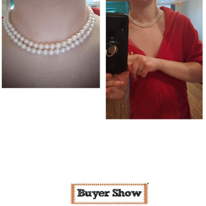 Image 5 - MADALENA SARARA AAA 7 8mm freshwater pearl necklace Two Rows, the brightest, flawless Natural White