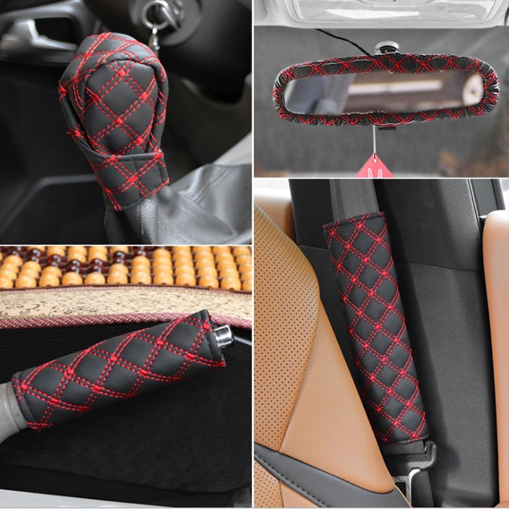5pcs Handbrake Cover Sleeve Shift Gear Knob Cover Rear View Mirror Protector Seat Belt Cushion