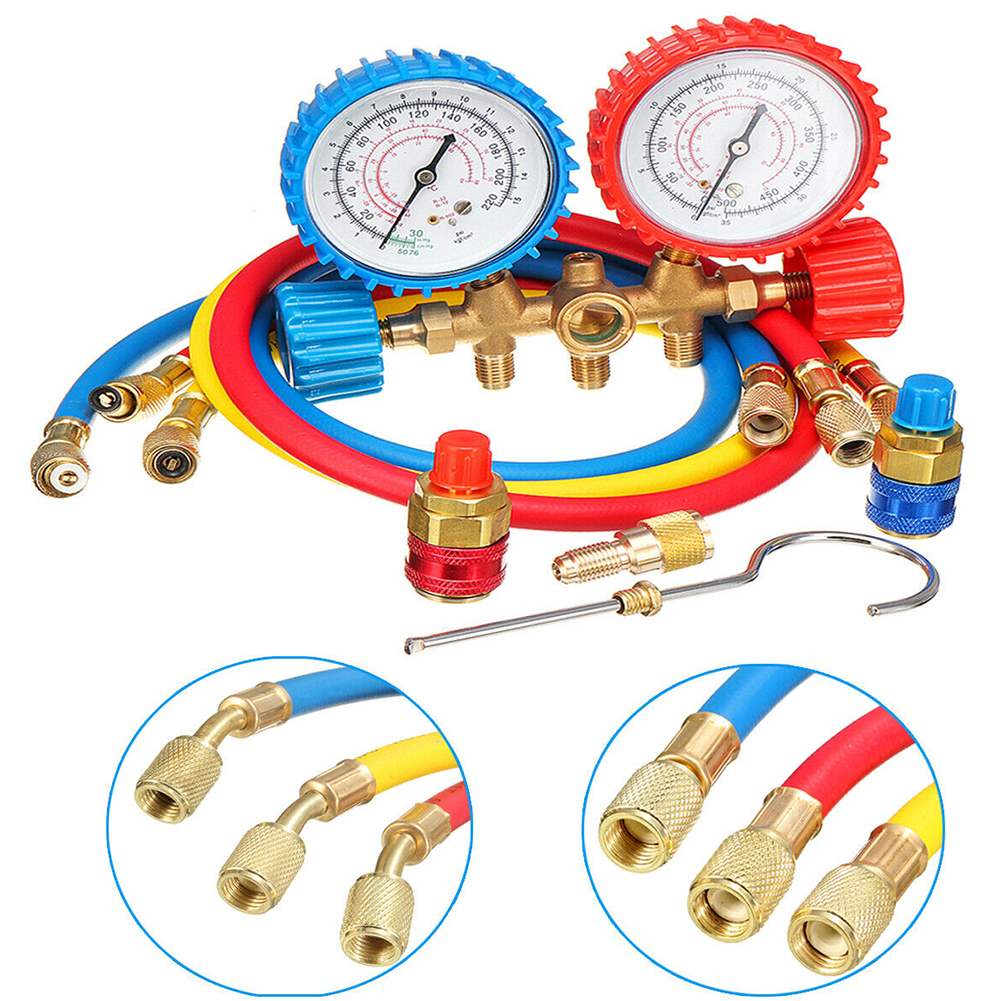 Household Maintenance Easy Install Shockproof 2 Way Air Conditioning Car Diagnostic Test Manifold Gauges Set Repair Tools