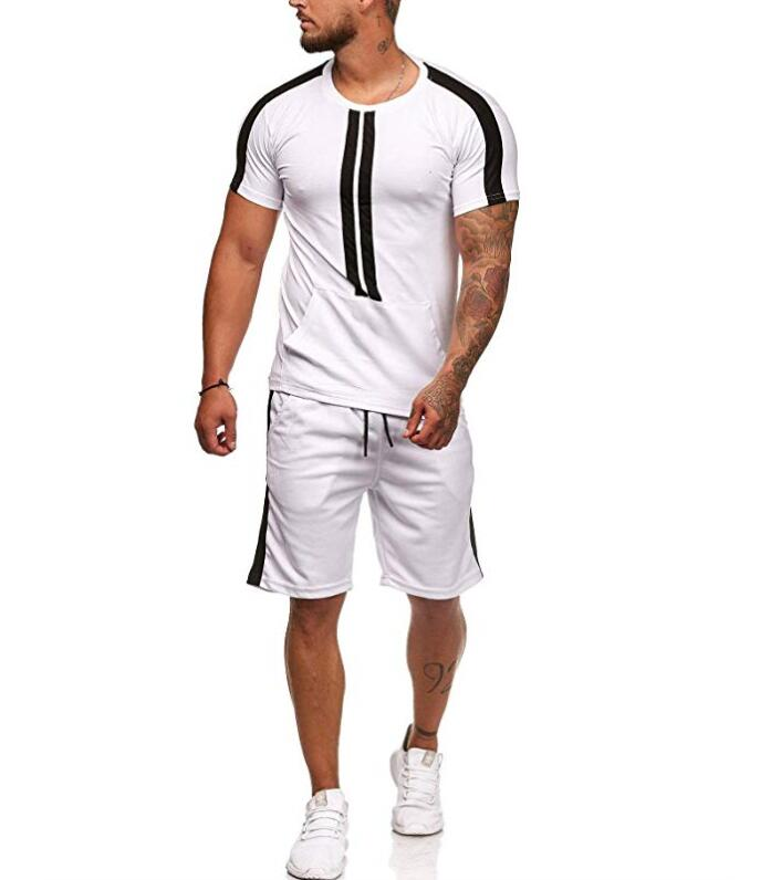 DIHOPE 2019 Fashion Men Set Fashion Striped Sportwear Mens Tracksuit Summer Short Sleeve T-shirt Shorts Suit