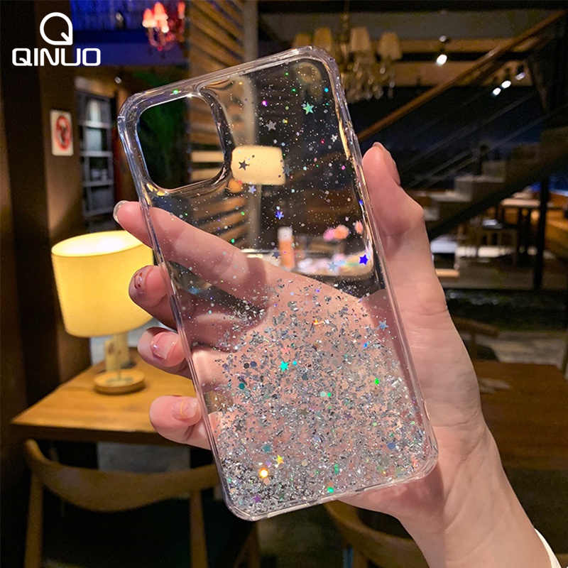 Bling Glitter Ster Siliconen Case Voor Iphone 11 Pro Max X Xr Xs Max Shining Sequin Soft Clear Cover voor Iphone 6 6S 7 8 Plus