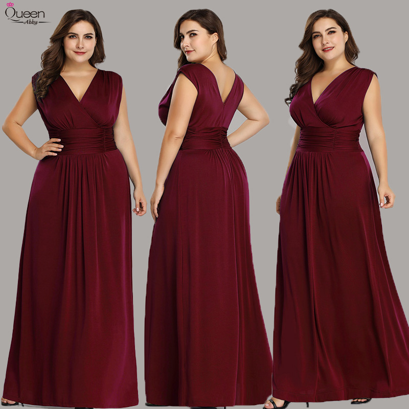 Plus Size Evening Dresses Long Burgundy Elegant Queen Abby V-neck A-line Sleeveless Black Formal Wedding Party Gowns For Women