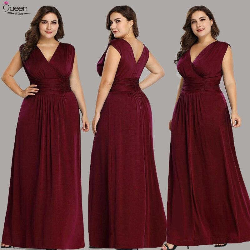 Plus Size Evening Dresses Long Queen Abby A-line V-neck Sleeveless Elegant Formal Women Wedding Party Gowns Vestido De Noiva