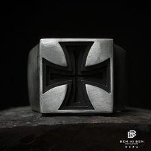 Bem oi ben men'swomens ferro cruz anel 925 prata esterlina design original feito à mão motociclista punk escuro