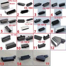 Scart 21pinหัวConnector Socket Set Top Box STBพร้อมShieldสกรูหลุม